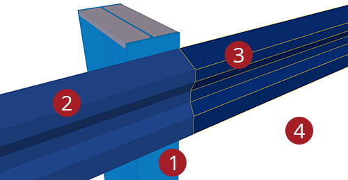 The order to select Tekla Structures model when adding Kingspan Eaves Beam to Stanchion (27)