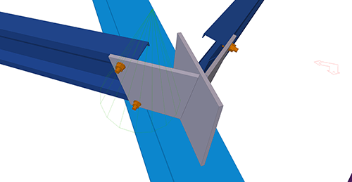 Tekla Structures model after adding Kingspan Shear Plate to Hip (8)