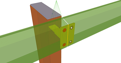 Tekla Structures model after adding Metsec Eaves Beam to Stanchion (104)