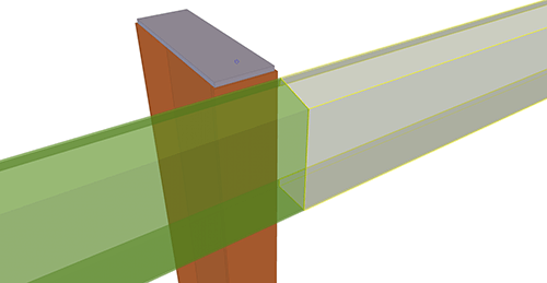 Tekla Structures model before adding Metsec Eaves Beam to Stanchion (104)