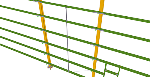 Tekla Structures model after adding Metsec Rapid Fit Side Rail (35)