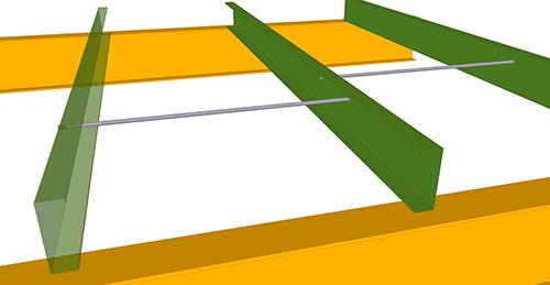 Tekla Structures model after adding Metsec Mezzanine Floor Tie Bar (38)