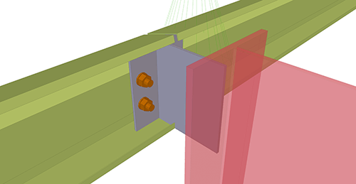 Tekla Structures model after adding Thomas Panels Eaves Beam to Stanchion (27)