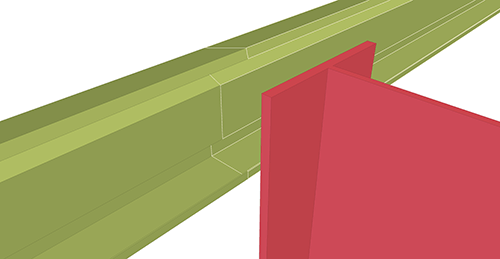Tekla Structures model before adding Thomas Panels Eaves Beam to Stanchion (27)