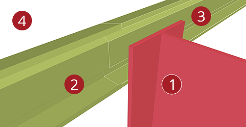 The order to select Tekla Structures model when adding Thomas Panels Eaves Beam to Stanchion (27)