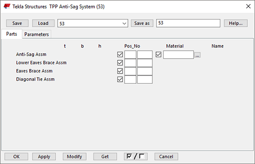 Tekla Structures properties Parts tab for Thomas Panels Anti-Sag System (53)