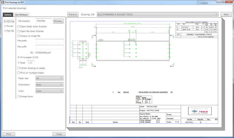 Print Drawings to PDF | Tekla User Assistance