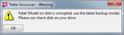 Model on disk is corrupted   Tekla User Assistance
